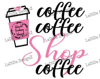 Black Friday Coffee Shop Coffee Cup Sublimation Transfers Pink Lipstick