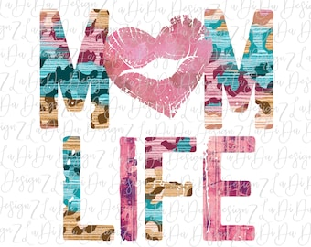Mom Life Lips Heart Pink Blue Leopard SUBLIMATION TRANSFER Mothers Day
