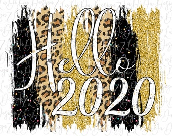 Hello 2020 Gold Glitter Look Leopard and Black Speckles DIGITAL PNG File and Transparent File Frame Brush Strokes