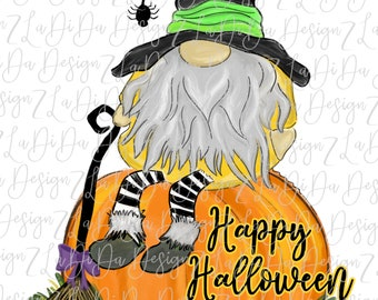 Happy Halloween Gnome Sitting On A Pumpkin VINYL Transfer with Mask Iron On Witch Hat Spider Broom