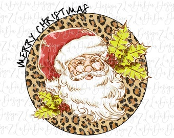 Merry Christmas Retro Santa Wearing Glasses on Round Leopard with Holly Vintage   -  SUBLIMATION Transfer