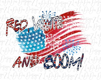 Red White and Boom 4th of July Patriotic Flag  DIGITAL PNG FILE Download Stars Stripes Red White Blue Dots Drawn