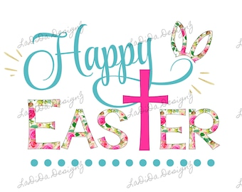 Happy Easter Cross Floral, Blue and Pink Sublimation Transfers Rabbit / Bunny Ears Floral