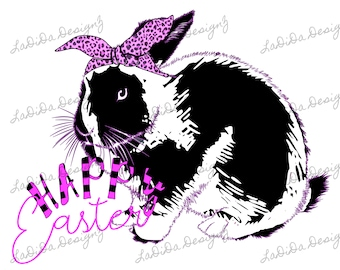 Happy Easter Bright Purple and Black Distressed Bunny Rabbit with Leopard Hair Tie Sublimation Transfers Bright Purple Stripes