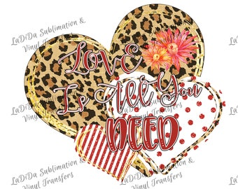 Love Is All You Need Leopard Red Glitter Striped and Polka Dot Glitter Heart PNG PDF Digital Download Glitter Gold Flowers