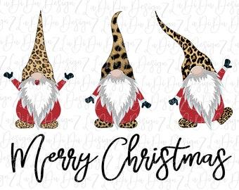 Merry Christmas Leopard Cheetah Gnomes DIGITAL DOWNLOAD - PNG Silver Glitter Beard