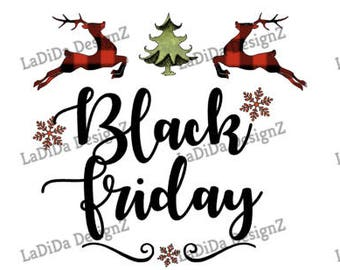 Black Friday Deer Christmas Trees Sublimation Transfers Buffalo Plaid