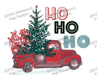 Ho Ho Ho Vintage Red Christmas Truck with Tree and Presents Sublimation Transfers - Ornaments