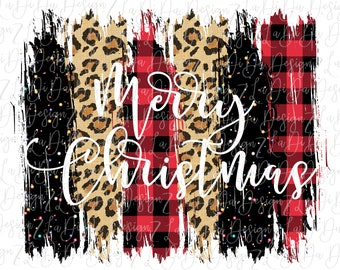 Merry Christmas Buffalo Plaid Leopard and Black Glitter SUBLIMATION Transfer Red Black Leopard Brush Strokes