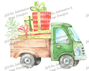 Watercolor Green Dump Truck with Load of Presents and Christmas Tree Sublimation Transfers Wood