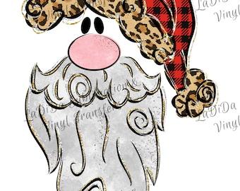 Santa with Leopard Buffalo Plaid Gold Hat and Beard VINYL Transfers - Plaid Leopard Face  with MaskHTV HTV  Iron On