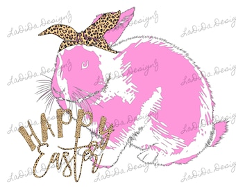 Happy Easter Bright Pink Distressed Bunny Rabbit with Leopard Hair Tie Sublimation Transfers Bright Pink