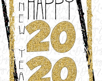 Happy New Year 2020 Gold Glitter Look and Black Speckles DIGITAL PNG File and Transparent File Frame