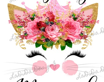 I'm Getting Meowied Roses Sublimation Transfer Pink Gold Eyelashes Flowers Cat Ears Crown