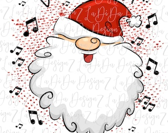 Don't Stop Believin Santa Face Music Notes SUBLIMATION Transfers - Santa Face Hat
