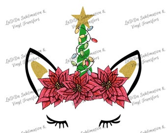 Christmas Unicorn with Christmas String Lights Poinsettia Band Glitter Star Sublimation Transfers - Unicorn Face