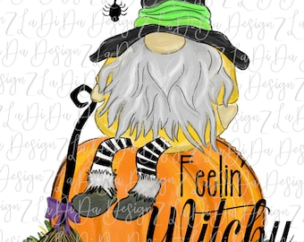 Feelin' Witchy Halloween Gnome Sitting On A Pumpkin SUBLIMATION Transfers Spider Broom Witch Hat