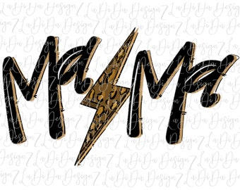 Mama Leopard Lightning Bolt  VINYL TRANSFER HTV Mask Iron On