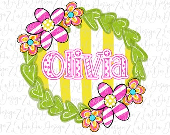 Personalized Flower Green Heart Wreath Yellow Stripes SUBLIMATION Transfer Name Pink Yellow Green Flowers