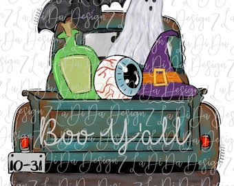 Boo Y'all Halloween Truck with Bat Eye Ball Potion Ghost and Witch Hat VINYL Transfer with Mask Iron On