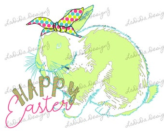 Happy Easter Bright Green Distressed Bunny Rabbit with Polka Dot Hair Tie Sublimation Transfers Bright Pink Green Blue