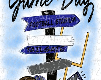 Game Day Royal Grey Direction Signs PNG Digital Download Tailgate Football Megaphone Pom Pom Goal