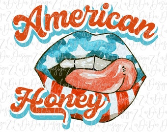 American Honey Flag Lips Tongue SUBLIMATION Tongue Lips Red White Blue Stars Stripes 4th Patriotic