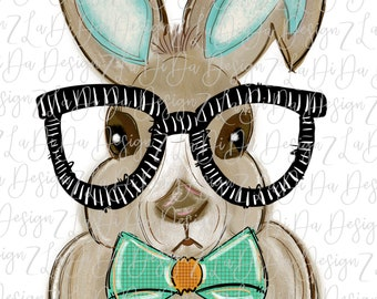 Personalized Easter Bunny Wearing Bow Tie and Glasses Flowers Watercolors SUBLIMATION Transfer Boy Green Blue Orange