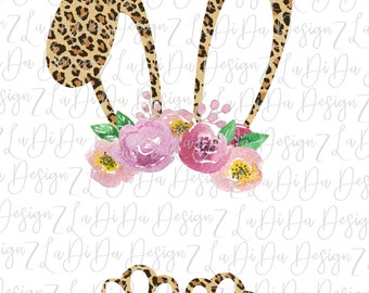 Blank Leopard Bunny Ears and Feet For Personalizing DIGITAL DOWNLOAD - PNG Leopard Floral Flowers Rabbit Easter