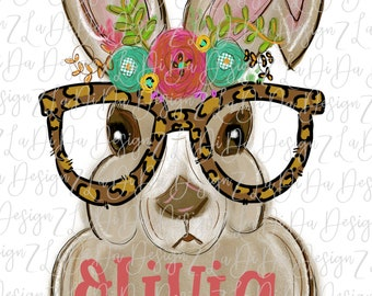 3aceeb0fe4ff Personalized Easter Bunny Wearing Leopard Glasses Flowers Watercolors  SUBLIMATION Transfer Floral Leopard