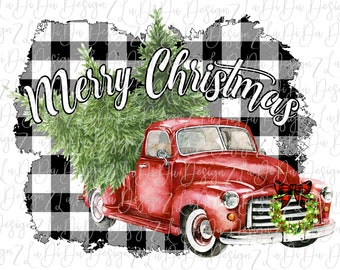 Merry Christmas Red Vintage Red Truck On Black and White Plaid Check With Wreath and Trees SUBLIMATION Transfer