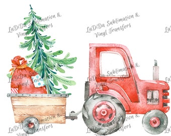 Watercolor Red Tractor Pulling Christmas Tree and Santa Sack Sublimation Transfers Wood Tree