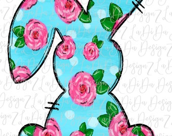 Floral Blue Bunny SUBLIMATION Transfer Hand Drawn Pink Flowers Bunny Ears Polka Dots