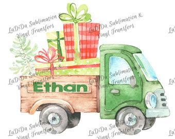Personalized Watercolor Green Dump Truck with Load of Presents and Christmas Tree Sublimation Transfers Wood