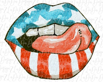 Flag Tongue Lips VINYL Transfer HTV  Iron On Red White Blue Stars and Stripes Patriotic 4th