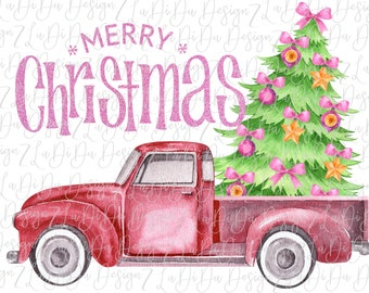 Merry Christmas Vintage Truck with Christmas Tree in Back  VINYL Transfers with Mask HTV Iron On Pink Orange Bows  Pink Glitter LOOK Words