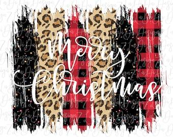 Merry Christmas Buffalo Plaid Black Glitter and Leopard Christmas PNG PDF Digital Download  Brush Strokes