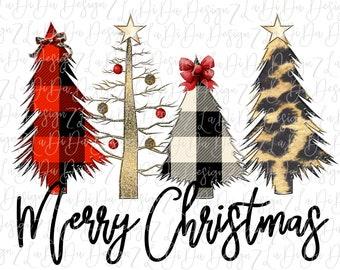 Merry Christmas Leopard Plaid Ornament Lights Christmas Trees SUBLIMATION Transfer - Stars Gold Glitter Ribbons Buffalo Plaid Skinny Tree