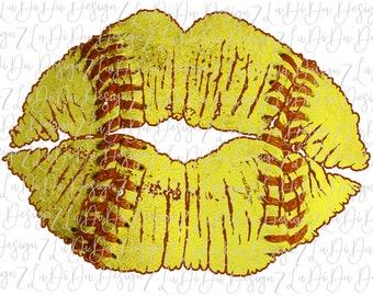 Softball Lips Stitches SUBLIMATION Transfer Softball Red Stitches Yellow