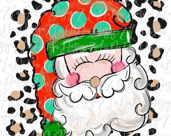 Santa Face on Leopard Polka Dot Santa hat  -  SUBLIMATION Transfer - Hand Drawn