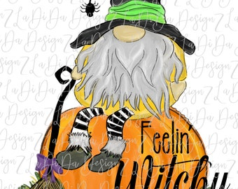 Feelin' Witchy Gnome Sitting On A Pumpkin VINYL Transfer with Mask Iron On Witch Hat Spider Broom