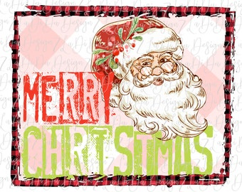 Merry Christmas Stamped Retro Vintage Santa Wearing Glasses Pink Plaid Background VINYL Transfers Christmas with MaskHTV HTV  Iron On