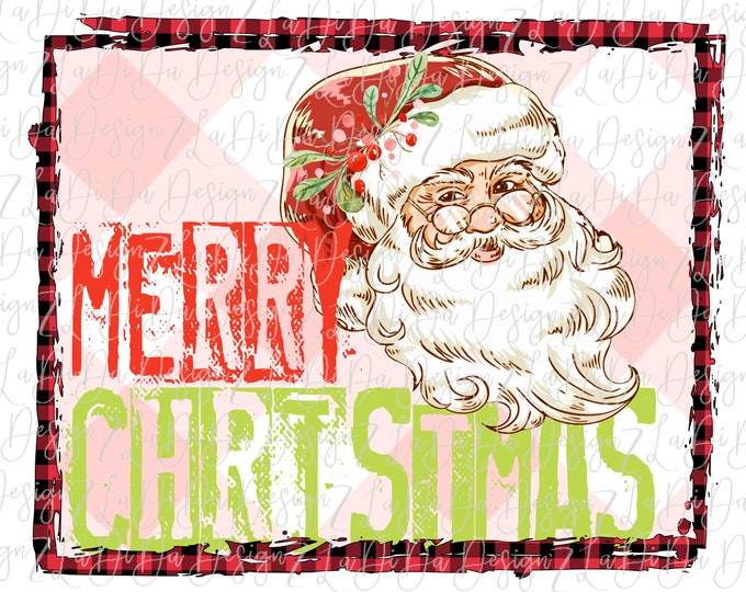 Featured listing image: Merry Christmas Stamped Retro Vintage Santa Wearing Glasses Pink Plaid Background VINYL Transfers Christmas with MaskHTV HTV  Iron On