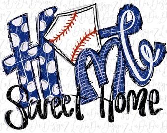 Home Sweet Home Baseball Plate Hand Drawn Royal Blue Watercolors SUBLIMATION Transfer Colorful Polka Dots Stripes Royal