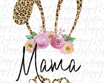 Personalized Leopard Bunny Ears and Feet SUBLIMATION Transfer Leopard Floral Flowers