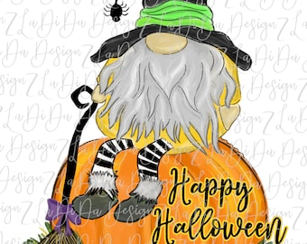 Happy Halloween Gnome Sitting On A Pumpkin SUBLIMATION Transfers Spider Broom Witch Hat