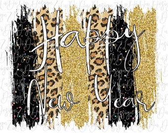 Happy New Year Gold Glitter Look Leopard and Black Speckles DIGITAL PNG File and Transparent File Frame Brush Strokes