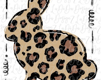 Leopard Bunny with Frame  SUBLIMATION Transfer Leopard