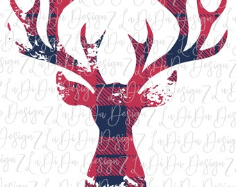 Buffalo Plaid Distressed Deer SUBLIMATION Transfers Large Antlers