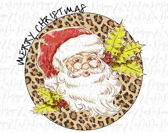 Merry Christmas Retro Santa on Round Leopard  -  VINYL Transfer MaskHTV Iron On  Holly Santa Wearing Glasses